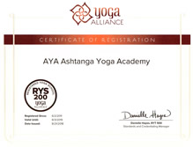 Certificaat Yoga alliance